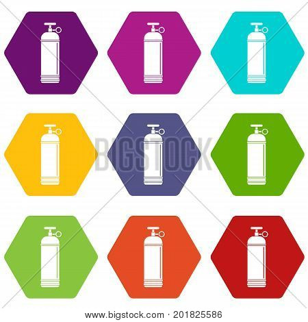 Compressed gas container icon set many color hexahedron isolated on white vector illustration