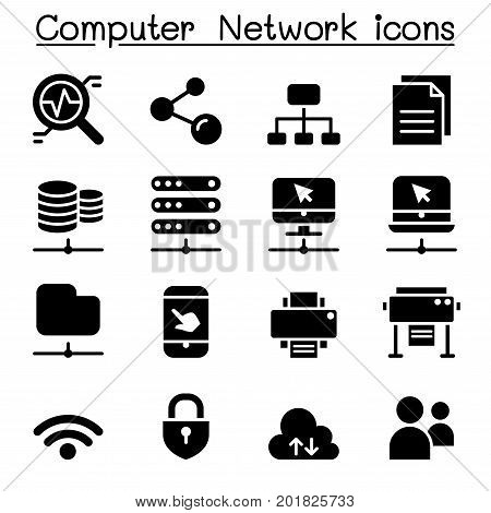 Computer network icons set vector illustration graphic design