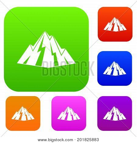 Rock set icon in different colors isolated vector illustration. Premium collection