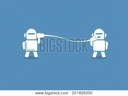 Robo advisor concept as vector illustration. Two robots communicating with each other on blue background.