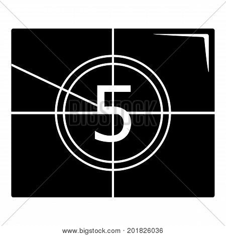 Movie countdown number icon. Simple illustration of movie countdown number vector icon for web