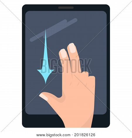 Flick down with two fingers touch screen gesture on tablet vector illustration. Flat style design. Colorful graphics