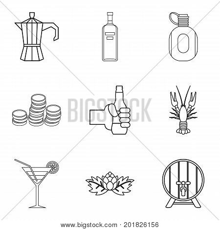 Martini icons set. Outline set of 9 martini vector icons for web isolated on white background