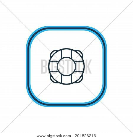 Beautiful Extra Element Also Can Be Used As Lifesaver Element.  Vector Illustration Of Lifebuoy Outline.