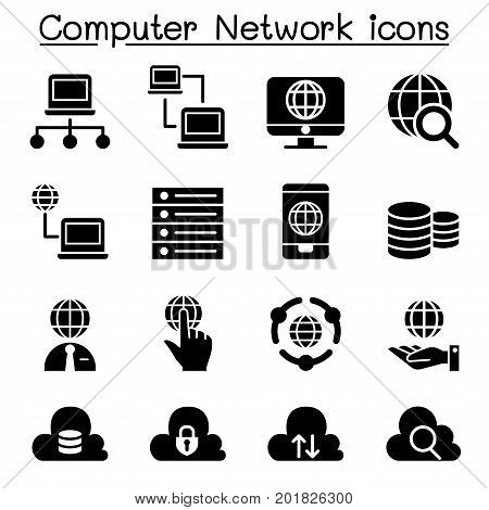 Computer network Server Hosting icons vector illustration graphic design