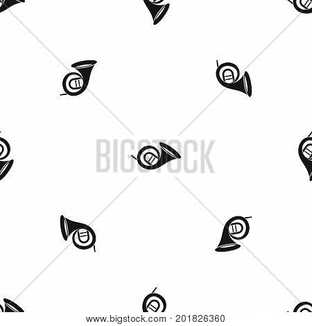 French horn pattern repeat seamless in black color for any design. Vector geometric illustration