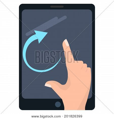 Rotate right touch screen gesture on tablet vector illustration. Flat style design. Colorful graphics