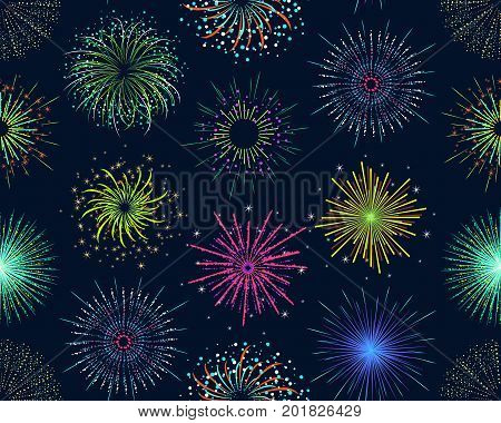 Color Celebration Fireworks Background Pattern on Dark for Party and Holiday Event Explode Effect. Vector illustration