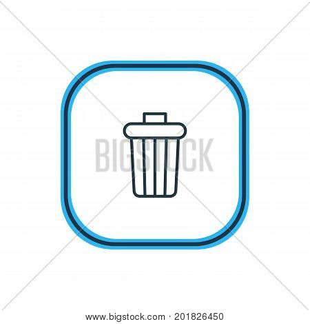Beautiful Stationery Element Also Can Be Used As Garbage Container Element.  Vector Illustration Of Trash Bin Outline.