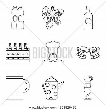 Ale icons set. Outline set of 9 ale vector icons for web isolated on white background