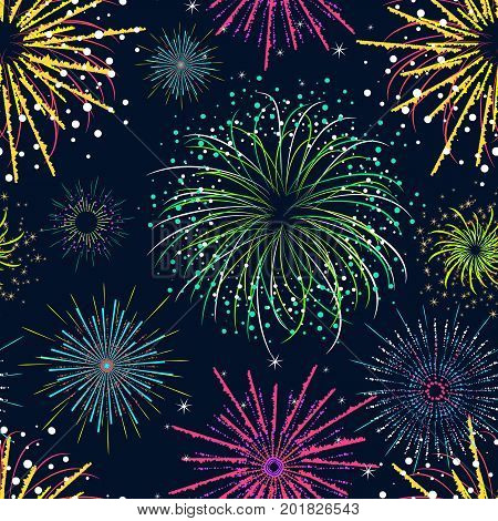 Color Celebration Fireworks Background Pattern Party and Holiday Event Explode Effect for Web Design. Vector illustration