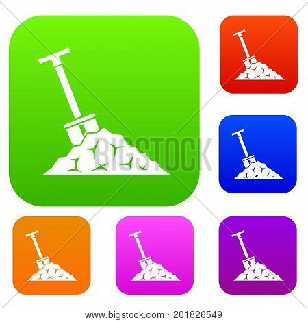 Shovel in coal set icon in different colors isolated vector illustration. Premium collection