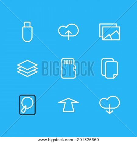 Editable Pack Of Hdd, Documents, Layer And Other Elements.  Vector Illustration Of 9 Memory Icons.