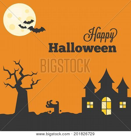 Happy halloween with abandoned castle, bat, full moon, zombie hand, haunting tree, design in vintage style for poster  or greeting card