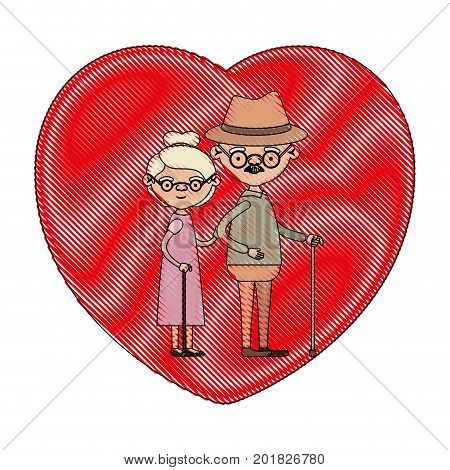 color crayon silhouette of heart shape greeting card with caricature full body elderly couple embraced grandfather with hat and moustache in walking stick and grandmother with short hair vector illustration