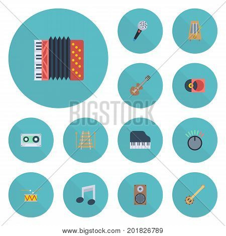 Flat Icons Knob, Banjo, Tambourine And Other Vector Elements