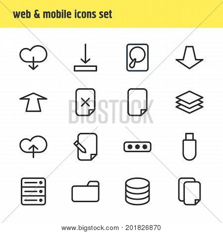Editable Pack Of Cloud, Database, Hdd And Other Elements.  Vector Illustration Of 16 Archive Icons.