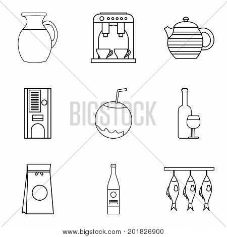 Pleasant dinner icons set. Outline set of 9 pleasant dinner vector icons for web isolated on white background