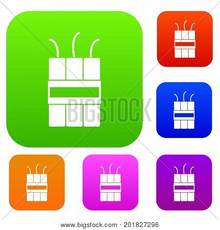 Dynamite explosives set icon in different colors isolated vector illustration. Premium collection