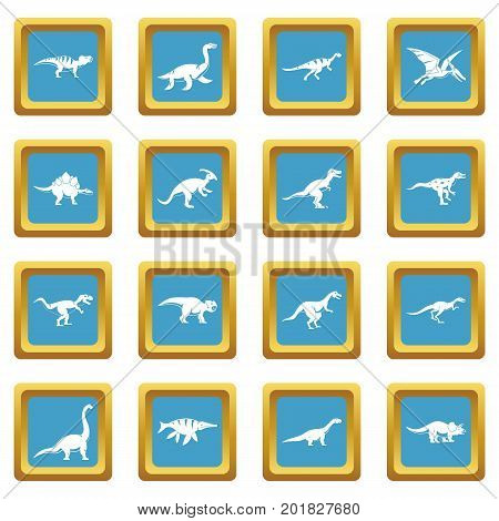 Dinosaur icons set in azur color isolated vector illustration for web and any design