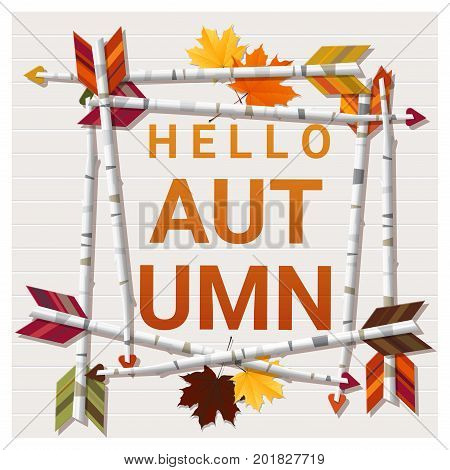Hello autumn background with arrows on wooden board , vector , illustration