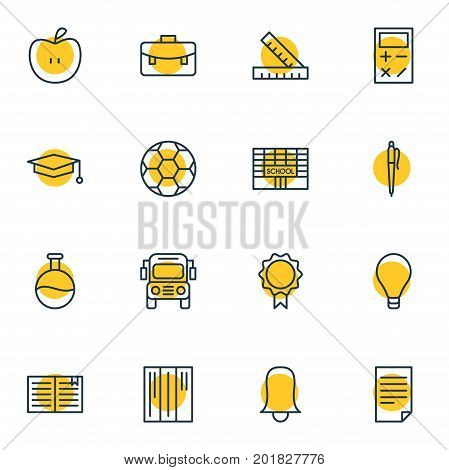 Editable Pack Of Car, Jingle, Textbook And Other Elements.  Vector Illustration Of 16 Education Icons.