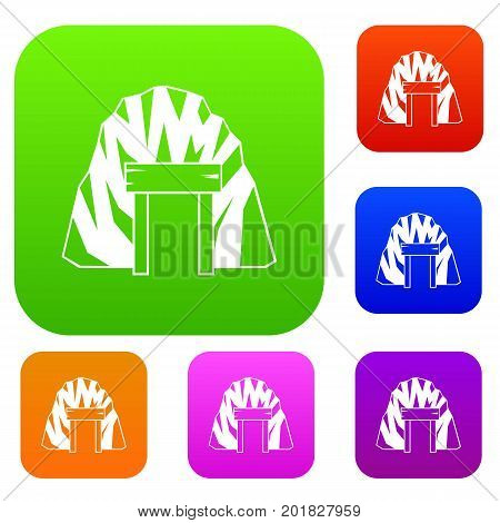 Mine in mountain set icon in different colors isolated vector illustration. Premium collection