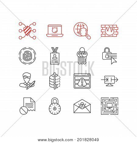 Editable Pack Of Key Collection, Data Security, Safeguard And Other Elements.  Vector Illustration Of 16 Security Icons.