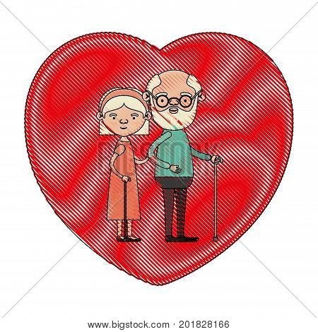 color crayon silhouette of heart shape greeting card with caricature full body elderly couple embraced grandfather in walking stick and grandmother with bow lace and straight hair vector illustration