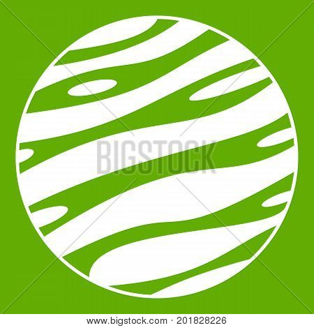 Big planet icon white isolated on green background. Vector illustration