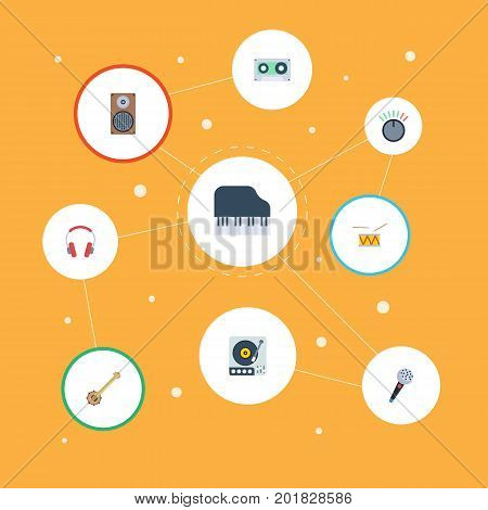 Flat Icons Karaoke, Tambourine, Banjo And Other Vector Elements