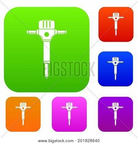 Jackhammer set icon in different colors isolated vector illustration. Premium collection