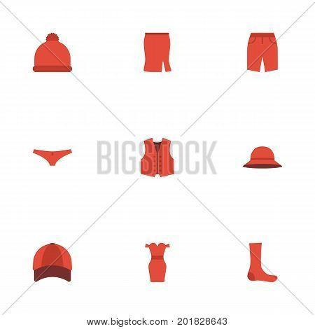 Flat Icons Pompom, Hosiery, Hat And Other Vector Elements