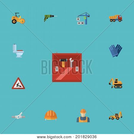 Flat Icons Toolkit, Excavator, Steamroller And Other Vector Elements