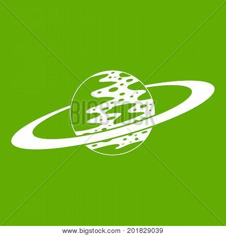Saturn icon white isolated on green background. Vector illustration