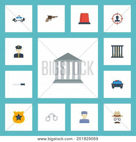 Flat Icons Bayonet, Officer Emblem, Inspector And Other Vector Elements
