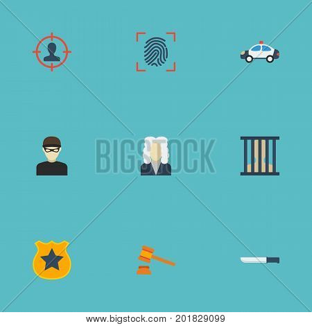 Flat Icons Thumbprint, Automobile, Bayonet And Other Vector Elements