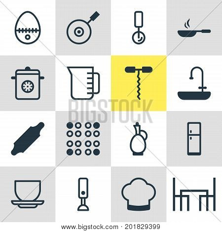 Editable Pack Of Coffee Cup, Carafe, Wine Opener And Other Elements.  Vector Illustration Of 16 Kitchenware Icons.