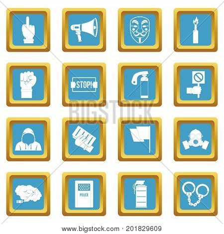 Protest icons set in azur color isolated vector illustration for web and any design
