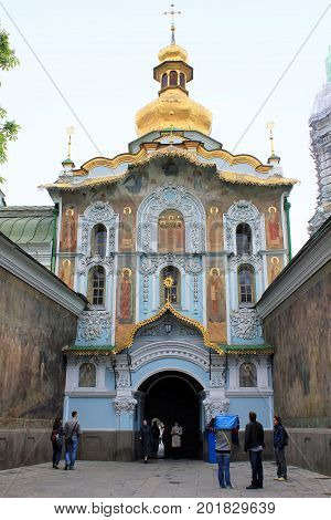 KIEV, UKRAINE - MAY 3, 2011: This is the Trinity Gate Church at the entrance to the territory of the Kiev-Pechersk Lavra.