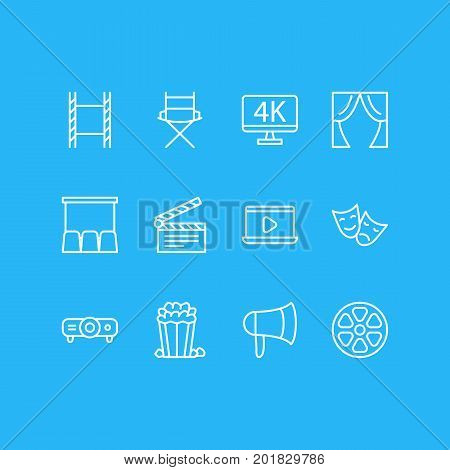 Editable Pack Of Megaphone, Slideshow, Monitor And Other Elements.  Vector Illustration Of 12 Movie Icons.