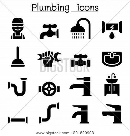 Plumbing icons set vector illustration graphic design