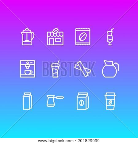 Editable Pack Of Mocha, Sweetener, Package And Other Elements.  Vector Illustration Of 12 Java Icons.