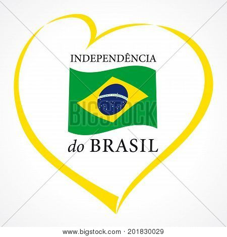 Love Brazil Independence day emblem colored. Independence day of Brazil vector yellow heart and national flag on white background