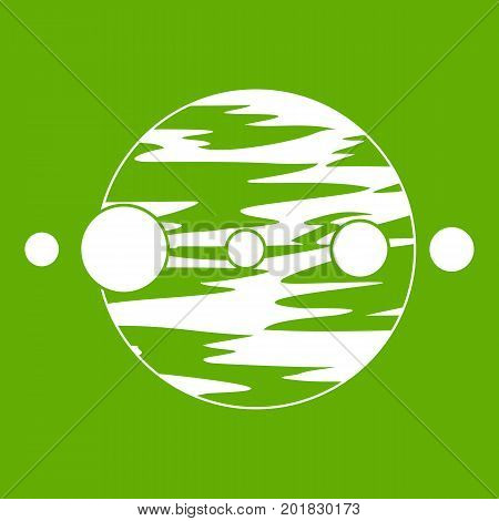 Planet and moons icon white isolated on green background. Vector illustration