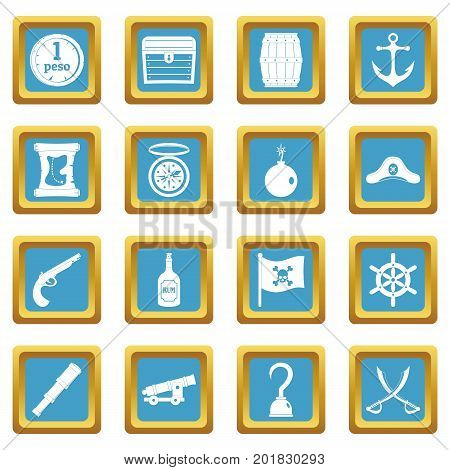 Pirate icons set in azur color isolated vector illustration for web and any design