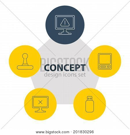 Editable Pack Of Warning, Pda, Access Denied And Other Elements.  Vector Illustration Of 5 Notebook Icons.
