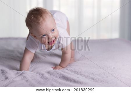 Smiling Baby Boy Doing First Steps. Funny Infant Kid Begining To Toddle.