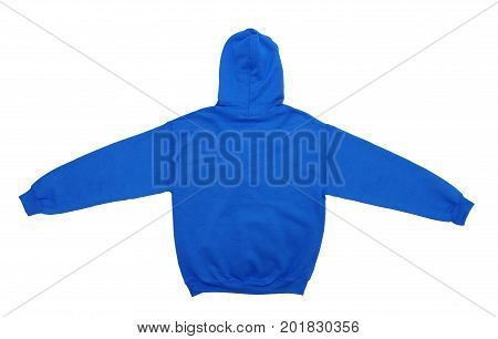spread blank hoodie sweatshirt color blue back view on white background