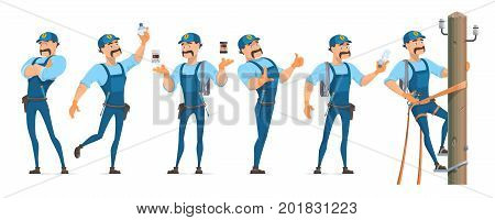 Colorful electrician characters set in different poses with professional equipment and master working on power pole isolated vector illustration